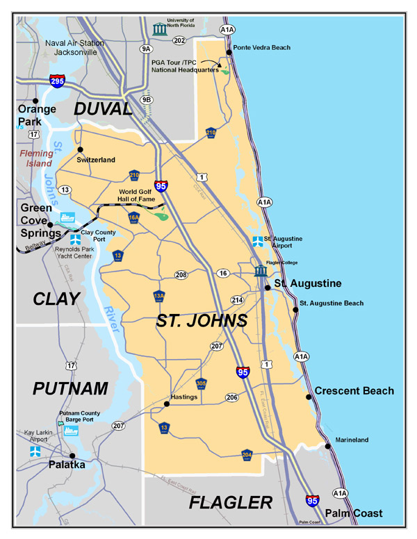 Map Of St Johns County FL Submited Images